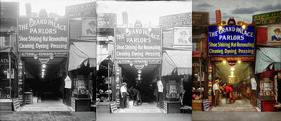Photograph - Shoeshine - The Grand Palace Parlors 1922 - Side By Side by Mike Savad