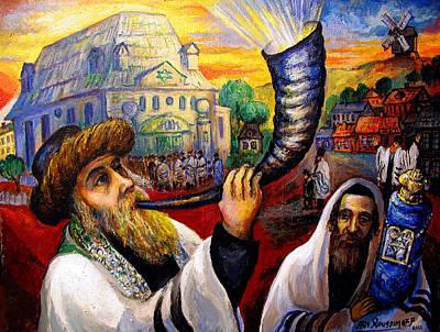 Roussimoff Wall Art - Painting - Shofer, Welcoming In Rosh Hashana by Ari Roussimoff