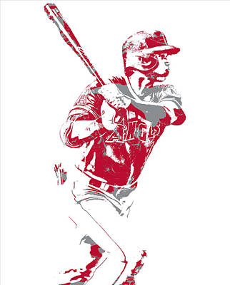 Mixed Media - Shohei Ohtani Los Angeles Angels Pixel Art 2 by Joe Hamilton