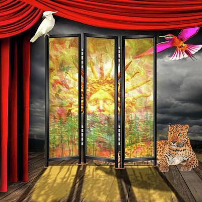 Digital Art - Shoji Screen Sunrise by Bill Johnson