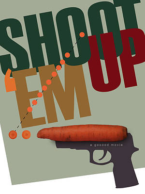 Clive Digital Art - Shoot 'em Up Movie Poster by Attila Meszlenyi