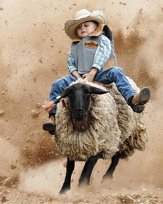 Shoot Low Sheriff They're Riding Sheep Art Print by Ron  McGinnis