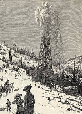 Oil Drawing - Shooting An Oil Well From The Book The by Vintage Design Pics