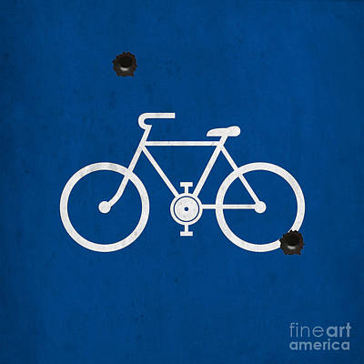 Asphalt Painting - Shooting Blue Bike by Pablo Franchi