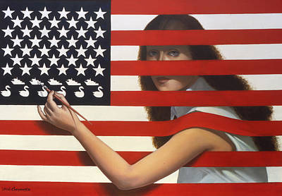 Patriotic Flag Painting - Shooting Gallery by Jane Whiting Chrzanoska