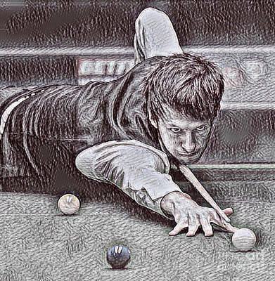 Billiard Drawing - Shooting Pool Drawing by Pd