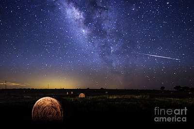 Stars Photograph - Shooting Star Across The Night Sky by Tod and Cynthia Grubbs