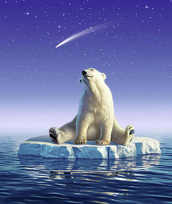 Polar Bear Wall Art - Digital Art - Shooting Star by Jerry LoFaro