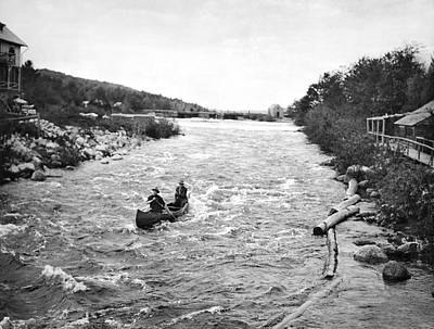 Small Boat Photograph - Shooting The Rapids In Maine by Underwood Archives