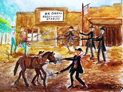 Painting - Shootout At The O.k. Corral by Stanley Morganstein
