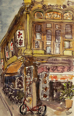 Wall Art - Painting - Shophouse On The Corner by Elissa Poma