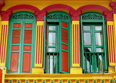 Photograph - Shophouse Windows by Ranjini Kandasamy