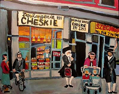 Painting - Shopping At Cheskie On Bernard by Michael Litvack