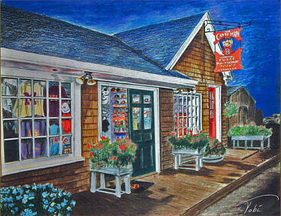 Maine Landscapes Drawing - Shopping At Kennybunkport by Tobi Czumak
