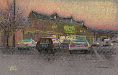 Parking Drawing - Shopping Center by Donald Maier