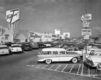 Shopping Center Parking Lot, C.1950s Art Print by H. Armstrong Roberts/ClassicStock