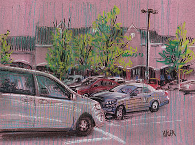 Parking Drawing - Shopping Day by Donald Maier