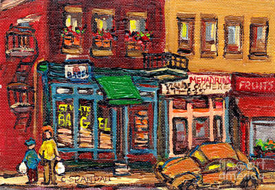Montreal Street Life Painting - St Viateur Bagel Shop And Mehadrins Kosher Deli Best Original Montreal Jewish Landmark Painting  by Carole Spandau