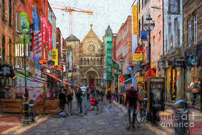 Digital Art - Shopping In Dublin by Les Palenik