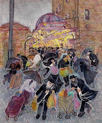 Painting - Shopping In The  Shouk For Shabbat, Jerusalem by Chana Helen Rosenberg