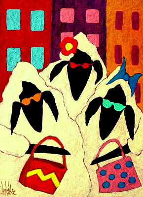 Modern Folk Art Painting - Shopping Sheep Divas by John Blake
