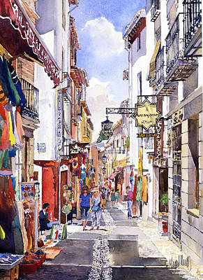 Granada Painting - Shops In The Albaicin Granada by Margaret Merry