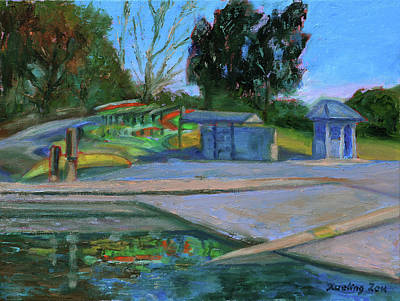 Painting - Shore Line Lake Boathouse California Landscape 11 by Xueling Zou