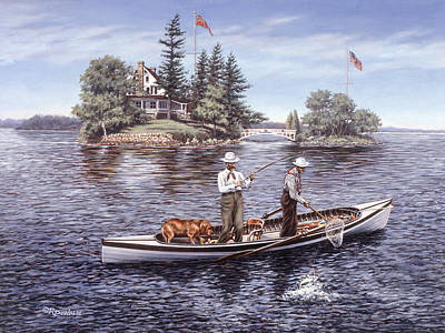 St. Lawrence River Painting - Shore Lunch On The Line by Richard De Wolfe