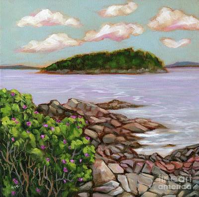 Maine Shore Painting - Shore Path Rosebush by Eve  Wheeler