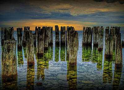 Photograph - Shore Pilings At Sunset By Fayette State Park by Randall Nyhof