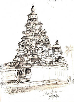 Shore Temple  Art Print by KaramChand Nanta