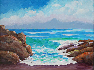 Surf The Rincon Painting - Shorebreak by Bob Phillips