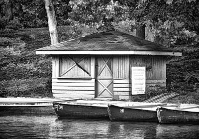 Photograph - Shoreline Boat Shed In B/w by Greg Jackson