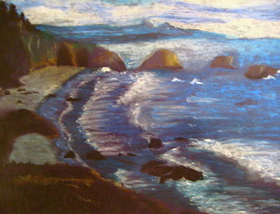 Oil Pastel Drawing - Shoreline by Emily Jones