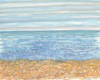 Abstract Seascape Drawing - Shoreline Entangle by Regina Valluzzi
