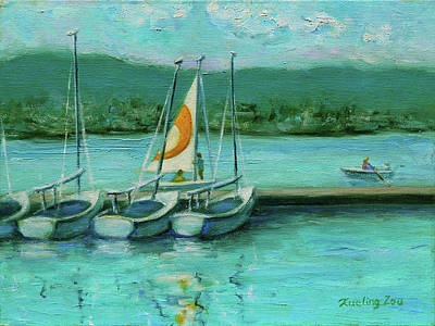 Painting - Shoreline Lake Boathouse Mountain View California Landscape 16 by Xueling Zou