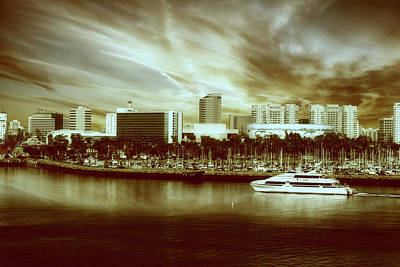 Queen Mary Mixed Media - Shoreline Long Beach Ca 09 Sepia by Thomas Woolworth