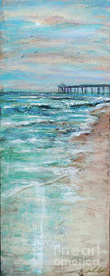 Painting - Shoreline With Pier by Linda Olsen