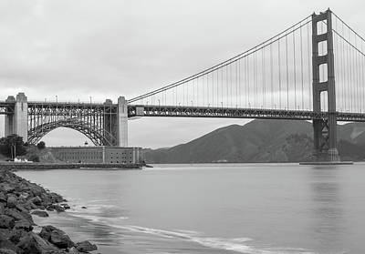Photograph - Shores Of The Golden Gate - San Francisco California In Black And White by Gregory Ballos