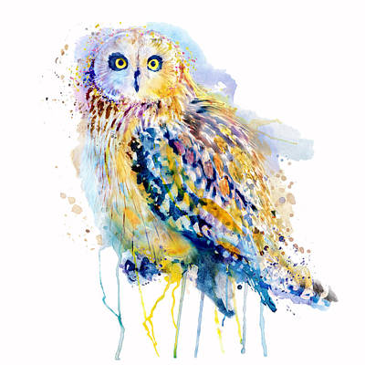 Mixed Media - Short Eared Owl  by Marian Voicu