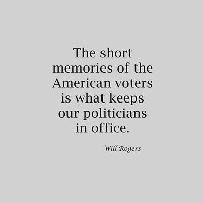 Short Memories Of American Voters 5447.02 Print by M K  Miller