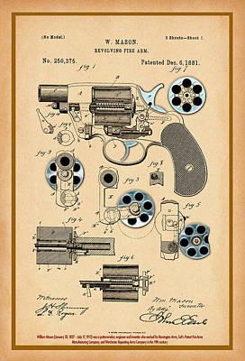 Digital Art - Short Revolver Patent Drawing by Carlos Diaz