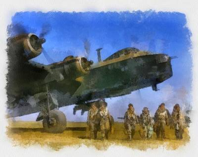 Airforce Painting - Short Stirling And Aircrew Wwii by Esoterica Art Agency