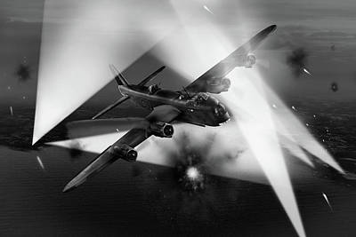 Photograph - Short Stirling Lk386 Battling Through Black And White Version by Gary Eason