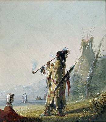 Music Painting - Shoshonee Indian Smoking by Alfred Jacob Miller