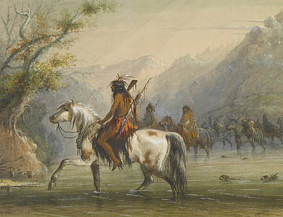 Indian Horse Painting - Shoshonee Indians - Fording A River by Alfred Jacob Miller