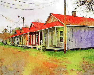 Digital Art - Shotgun Houses Natchez Ms by Rebecca Korpita