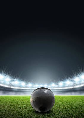 Stadium Digital Art - Shotput Ball In Generic Floodlit Stadium by Allan Swart
