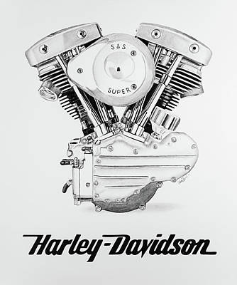 Still Life Drawings - Shovelhead Harley Engine and Logo by Ursa Davis