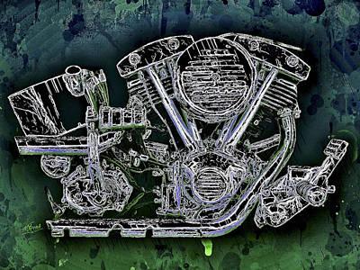 Mixed Media - Harley - Davidson Shovelhead Engine by Al Matra